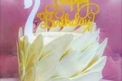 A swan themed birthday cake in Toronto